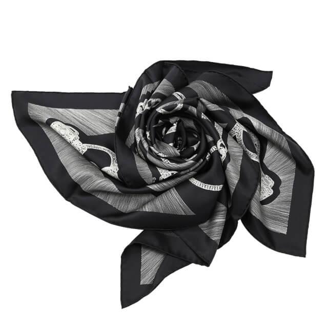 エルメス カレ90[正装のエチュード] ブラック系 シルク スカーフ