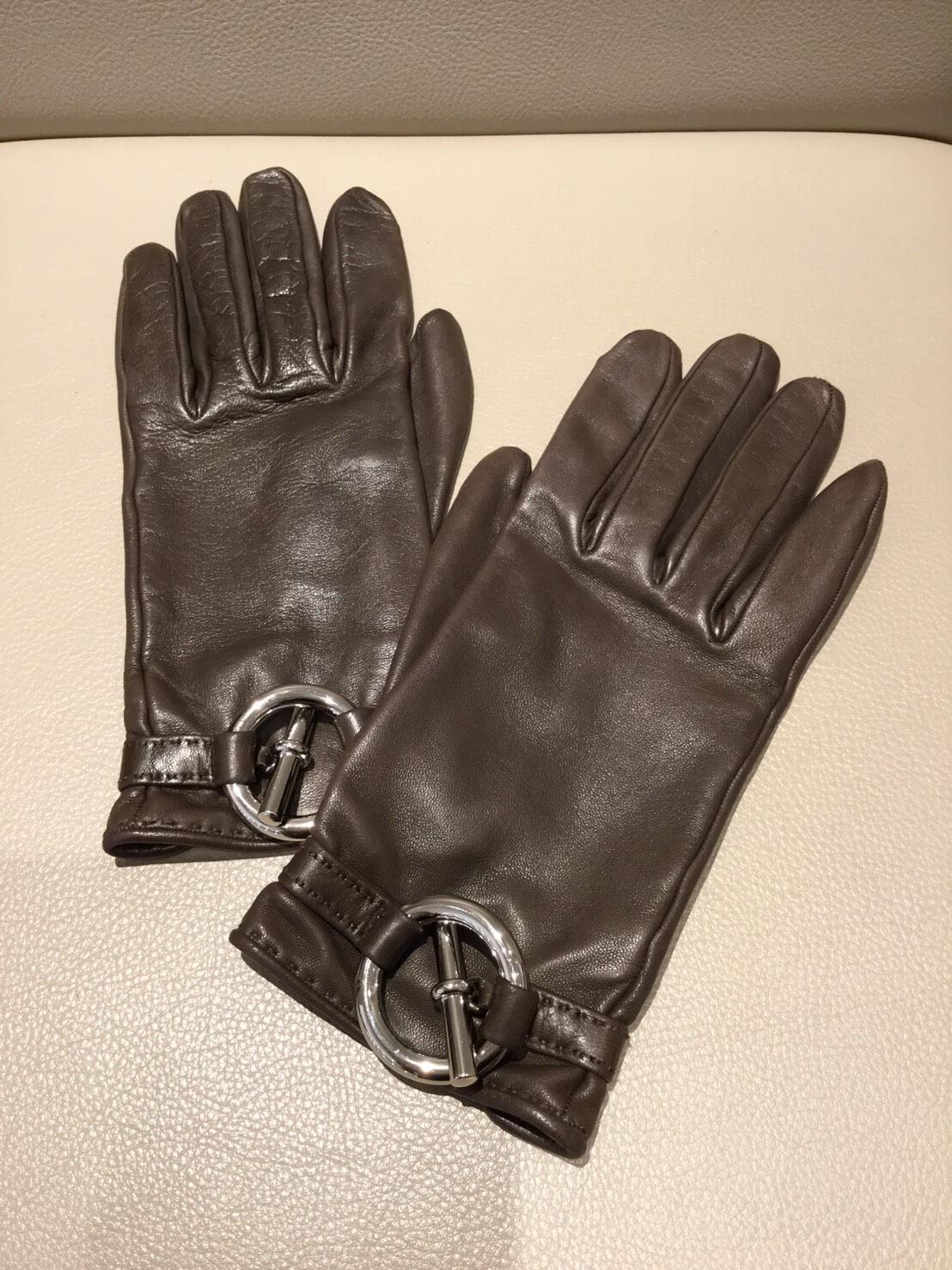 エルメス  レザー 手袋 ブラウン