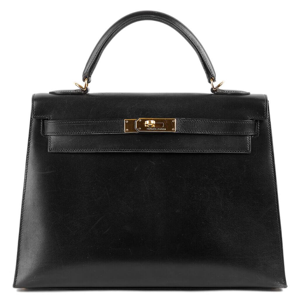 買取実績|エルメス ケリー 32 外縫い ボックスカーフ ブラック ゴールド金具【2020.11.08】