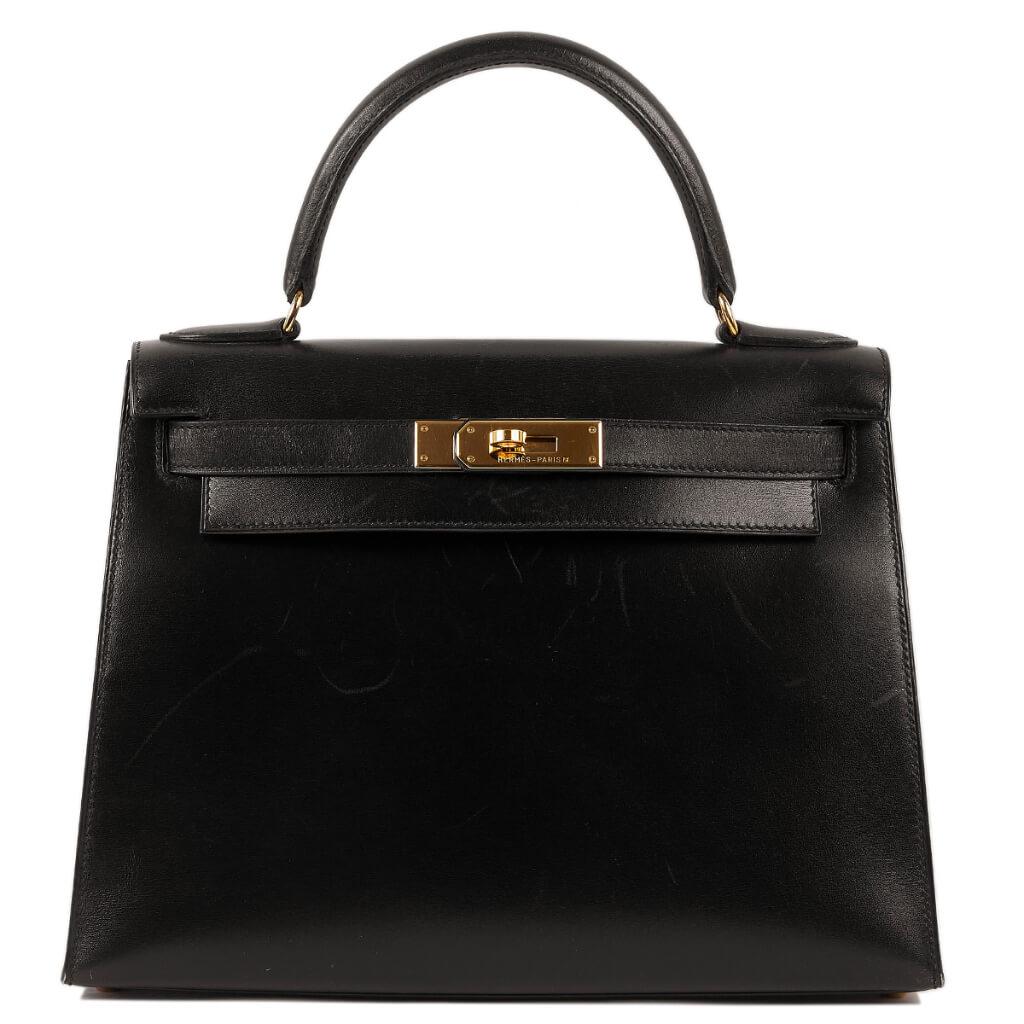 買取実績|エルメス ケリー 28 外縫い ボックスカーフ ブラック ゴールド金具【2021.03.10】